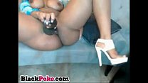 Black MILF with huge booty toys her horny pussy