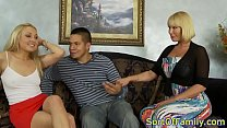 Bigtitted stepmom sharing cock in taboo trio