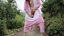 Redhead Fucks Dildo Outside In Dinosaur Costume