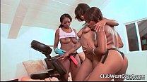 Hot ebony lesbians go crazy dildo preview image