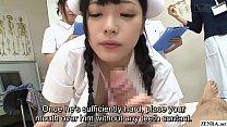 JAV nurses CFNM handjob blowjob demonstration Subtitled
