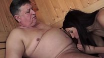 Old man fucks Young girl at Sauna image