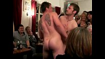 Two straight rugbymen strip each other bromoerotic