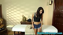 Massage loving babe gives bj and tastes jizz