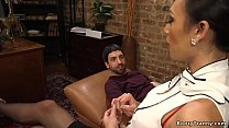 Addicted smoker gets anal with tranny