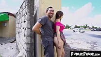 Naughty Lexi Luna flashing her pussy and fucking in public