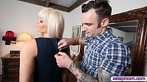 Stepson fucked his stepmom and tight gf in the bedroom preview image