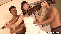 Cute Japanese chick double teamed while she plays the violin