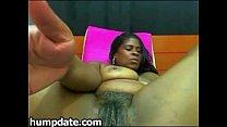 Chubby black babe with big boobs masturbating