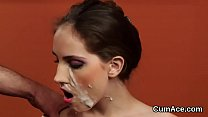 Wacky model gets cumshot on her face eating all the jizm