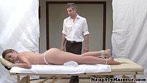 Allie Haze on massage table wants cock thumbnail