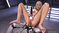 Hot blonde spreads pussy for fucking machine thumbnail
