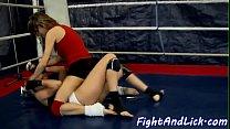 Petite wrestling babe licking euro dyke