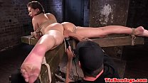Busty bdsm sub tied up and pussy fingered video