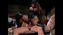 Busty ebony Menage A Trois in fetish latex gear rides a white hard cock