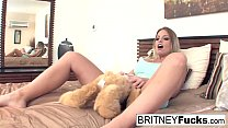 Alison and Britney Amber use their new vibrating teddy bear's Thumb