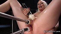 Blonde gets double penetration machine