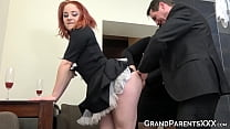 Ginger Maid Fucks With Mature Boss And His Chub