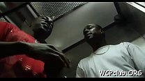 Chocolate woman stands from behind getting drilled so hard