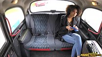 Ebony stunner sucks and rides a big dick in a fake taxi