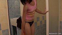 Lovely brunette girl takes old big cock porn image