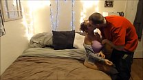 Amateur girlfriend sucks and fucks buff bf