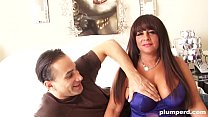 Fat cougar plays with her tits and fucks fit guy