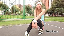 Cute slim tranny plays with her shaft