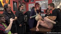 Blonde spanked and rough gangbanged porn image