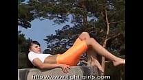 Sexy Girl In Orange Spandex Shorts - Download mp4 XXX porn videos