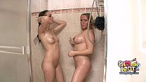 Big boob pregnant blonde showers together with college girlfriend