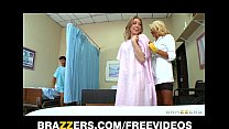Incredibly sexy blond nurse gives her patients ...