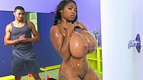 Black Chick With Insane Huge Tits Sucks A Black