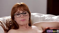 Busty sapphic redhead gets pussylicked