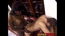Big ebony transsexual Suzana Holmes bangs white dude hard