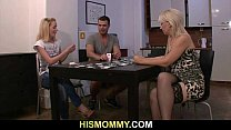 Pussy toying after strip poker with his mom Thumbnail