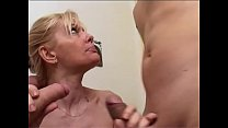 Italian milf likes two cocks at a time
