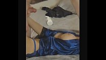Blue Satin Robe - Blue Panties