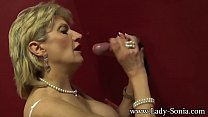Busty British mature Lady Sonia visits a gloryhole's Thumb