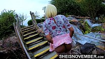15667 Msnovember In 4k HD Erotic Slow Motion Ass Flash Standing Outdoor Near Water Fall Pulling Upskirt In Public Getting Her Pretty Booty Grabbed Wearing Pink Short Skirt With Black Thong Pulled Down Sheisnovember preview