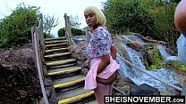 Msnovember In 4k HD Erotic Slow Motion Ass Flash Standing Outdoor Near Water Fall Pulling Upskirt In Public Getting Her Pretty Booty Grabbed Wearing Pink Short Skirt With Black Thong Pulled Down Sheisnovember صورة