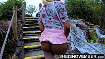 19925 Msnovember In 4k HD Erotic Slow Motion Ass Flash Standing Outdoor Near Water Fall Pulling Upskirt In Public Getting Her Pretty Booty Grabbed Wearing Pink Short Skirt With Black Thong Pulled Down Sheisnovember preview