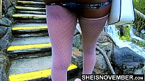 9597 Msnovember In 4k HD Erotic Slow Motion Ass Flash Standing Outdoor Near Water Fall Pulling Upskirt In Public Getting Her Pretty Booty Grabbed Wearing Pink Short Skirt With Black Thong Pulled Down Sheisnovember preview