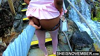 11284 Msnovember In 4k HD Erotic Slow Motion Ass Flash Standing Outdoor Near Water Fall Pulling Upskirt In Public Getting Her Pretty Booty Grabbed Wearing Pink Short Skirt With Black Thong Pulled Down Sheisnovember preview