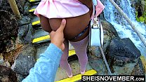 12059 Msnovember In 4k HD Erotic Slow Motion Ass Flash Standing Outdoor Near Water Fall Pulling Upskirt In Public Getting Her Pretty Booty Grabbed Wearing Pink Short Skirt With Black Thong Pulled Down Sheisnovember preview