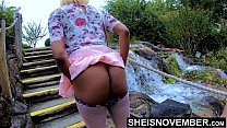 18274 Msnovember In 4k HD Erotic Slow Motion Ass Flash Standing Outdoor Near Water Fall Pulling Upskirt In Public Getting Her Pretty Booty Grabbed Wearing Pink Short Skirt With Black Thong Pulled Down Sheisnovember preview