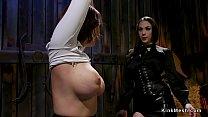 Huge tits lesbian slave gets anal in barn