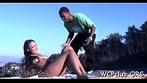 Chocolate woman stands doggy style getting drilled so hard Thumbnail