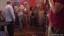 Painted huge tits blonde in public pornhub video