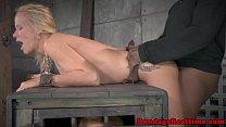 Blindfolded submissive spitroasted